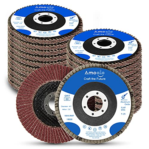 amoolo 20 Pack Flap Discs 40/60/80/120 Grit Grinding Wheel 4.5