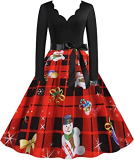 Wadonerful Evening Dress Women V Neck Long Sleeve Christmas Print 1950s Housewife Party Prom Dress Belted Swing Dresses