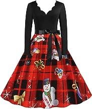 TOTOD Christmas Vintage Dress for Women, 1950s Elegant Lace O Neck Xmas Print Costume Fashion Party Swing Dresses