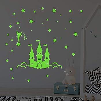 decalmile Adesivi Murali Luminosi Spazio Razzo Pianeti Adesivi da Parete Fluorescenti Stelle Decorazione Murale Cameretta Bambina Asilo Nido Camera da Letto