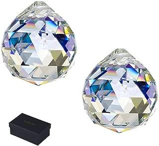 KARSLORA 40mm Suncatcher Crystal Ball Prism Rainbow Maker Hanging Prisms Window Suncatchers, 2 Pack, Clear