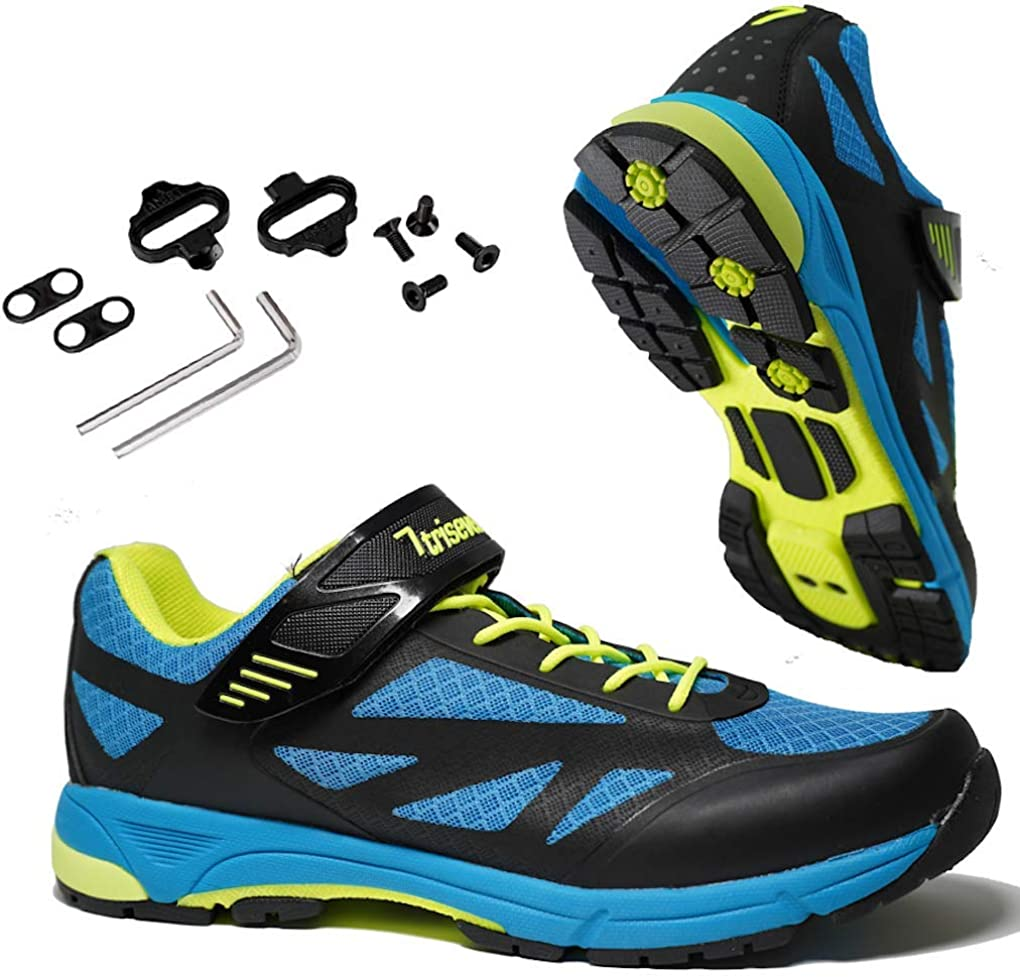 TriSeven Mountain MTB Shoes - Lightweight, Breathable Synthetic Leather, Anti-Slip Heal & SPD/Indoor Cycling Compatible!