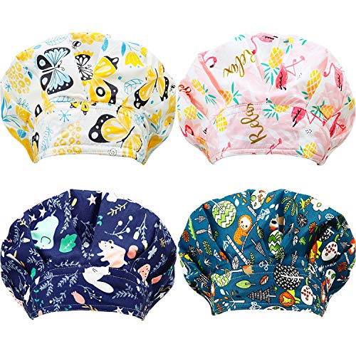 SATINIOR 4 Pieces Adjustable Caps Cotton Bouffant Cap Elastic Bouffant Cap Head Hair Covers with Sweatband for Women Men (Summer Animal Pattern), Multicoloured, Medium