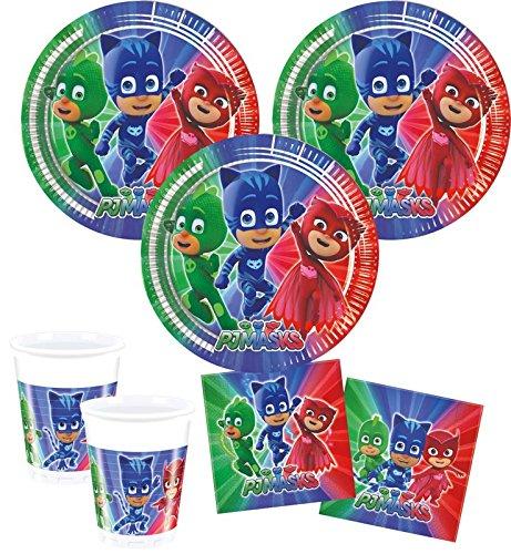 Juego de decoración para fiestas de PJ Masks (52 piezas, 16 niños)