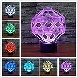 Lámpara 3d Resumen colorido visual 3 d luz táctil estéreo LED colorida lámpara de luz nocturna pequeña Lámpara de mesa Led Usb