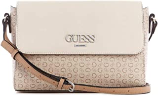 Guess Factory Women's Stylish Monogram Design Convertable Rigden Crossbody Bag -Coated Canvas - Nude Multi