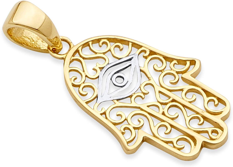 Wellingsale 14k Two 2 Tone White and Yellow Gold Hamsa Pendant (Size : 21 x 11 mm)