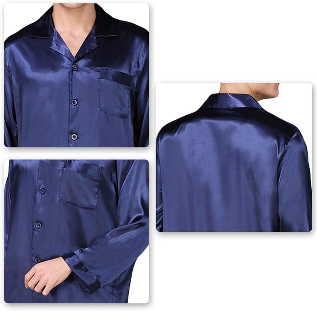 Mens Classic Satin Pajamas Set Button Down Silky Sleepwear Home Solid Loungewear