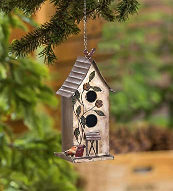 """Brogan 15"""" H Distressed Metal Birdhouses for Outdoors Hanging, Bird House Decorative for Outside Garden Yard, Double Hole"""