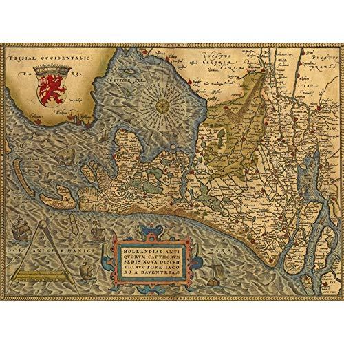 Wee Blue Coo Kaart Oude Vintage Holland Zuyderzee Nederland Hollandse Grote Ingelijste Poster Print
