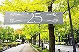 Folat - Pancarta decorativa para las bodas de plata con el número 25, color plateado y blanco, 180 x 40 cm