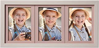 SweeHome Picture Frame Photo Frame Display Three 4x6 Inch Picture on Desk Table Top Four Color Selectable (Rustic White+Pink, Collage Frame with Three 4x6 in、)