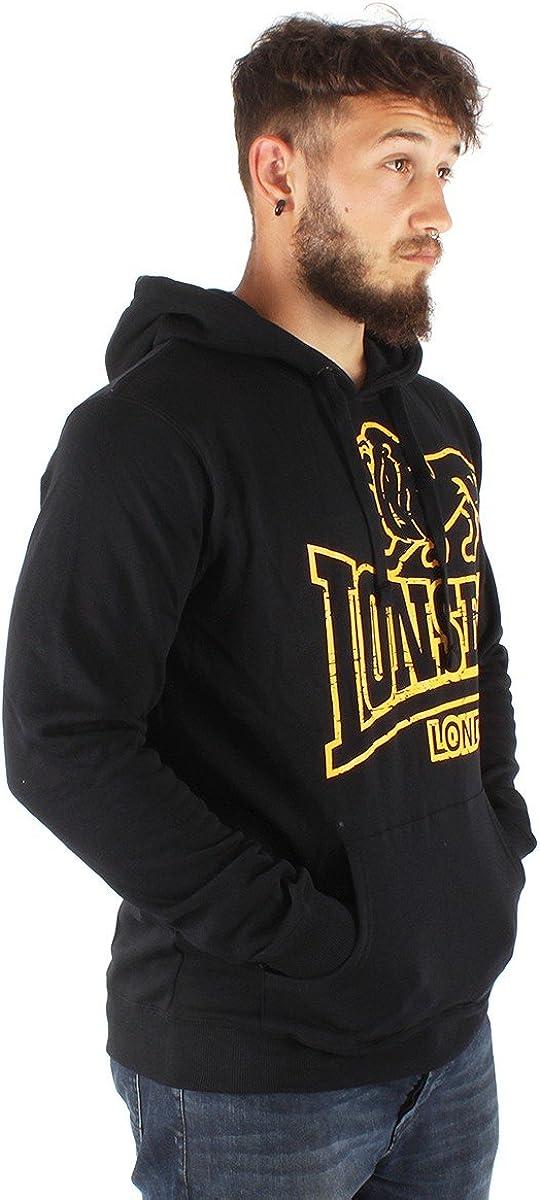 Lonsdale Tadley Sweatshirt à Capuche Homme Black/Yellow