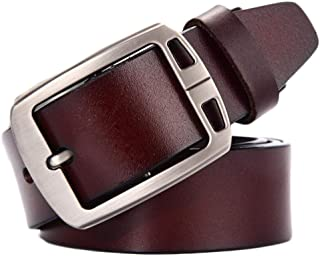 Men's Genuine Leather Belt 3D Texture Belt High-Grade Fashion Pin Buckle Belt Long 130 cm (Color : Brown d)