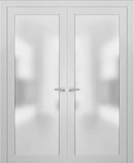 French Double Frosted Glass Doors 60 x 80 | Planum 2102 White Silk | Frames Trims Satin Nickel Hardware | Bedroom Bathroom Solid Core Wooded Panels with Opaque Inserts