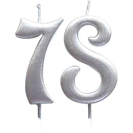 MAGJUCHE Silver 89th Birthday Numeral Candle Number 89 Cake Topper Candles Party Decoration for Women or Men