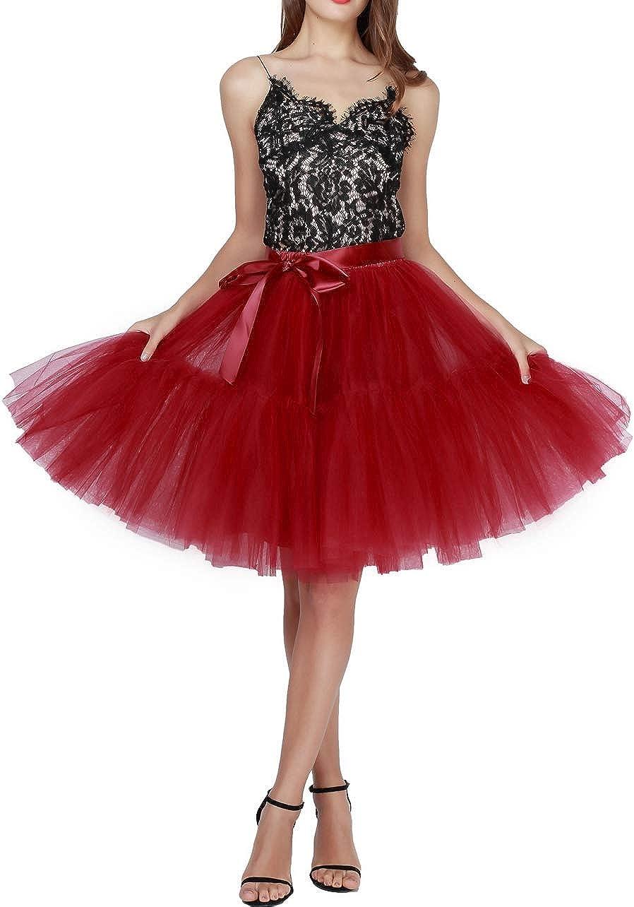 REYOUST Women's Tulle Skirt Princess Tutu Midi Knee Length Skirt Underskirt Dance Skirt