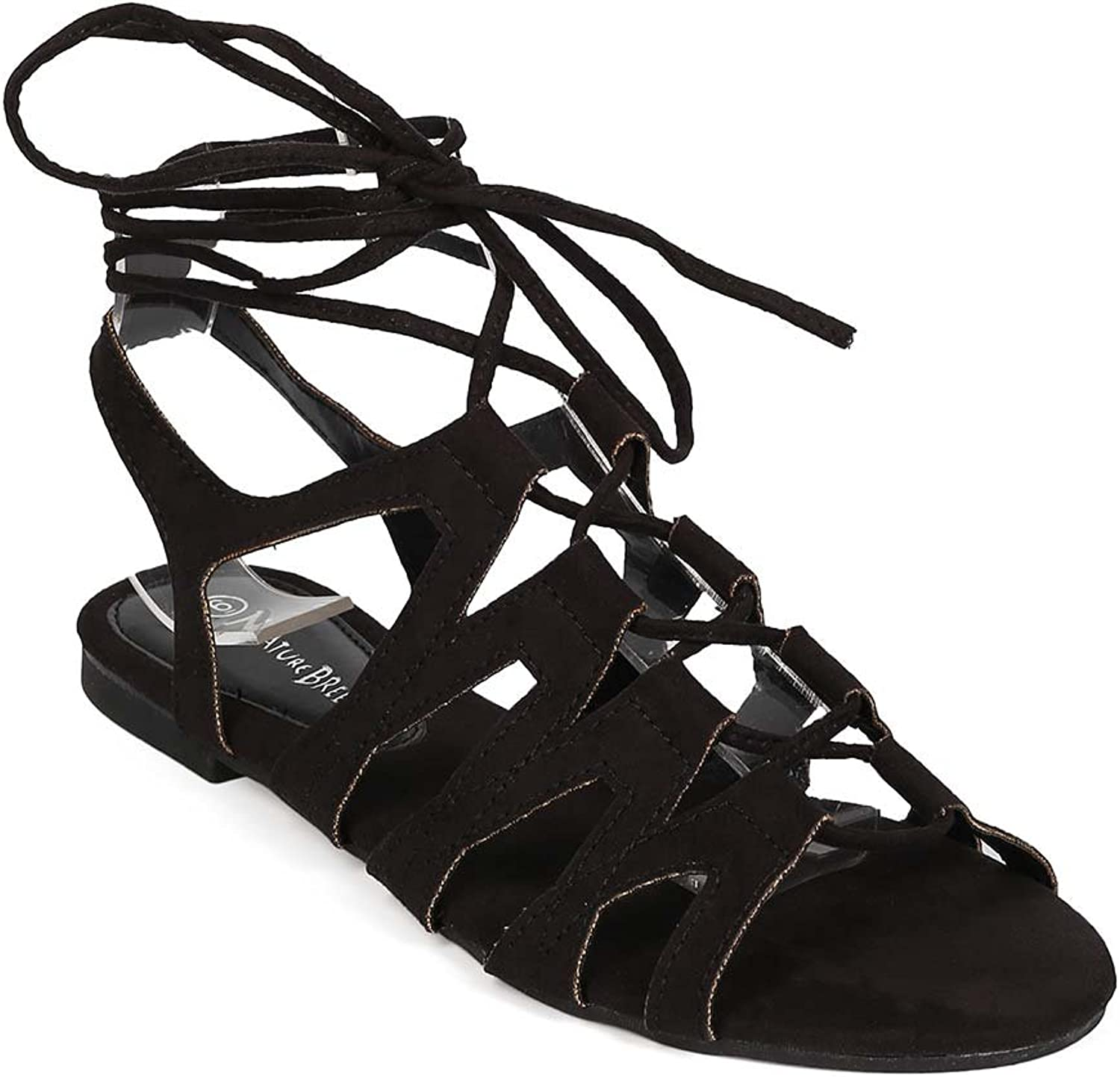 Nature Breeze EG25 Women Suede Open Toe Gilly Tie Gladiator Wrap Sandal - Black