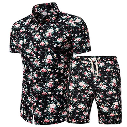 Raylans Mens Floral Shirts Short Sleeve Set Casual Button Down Beach Shirts Suits