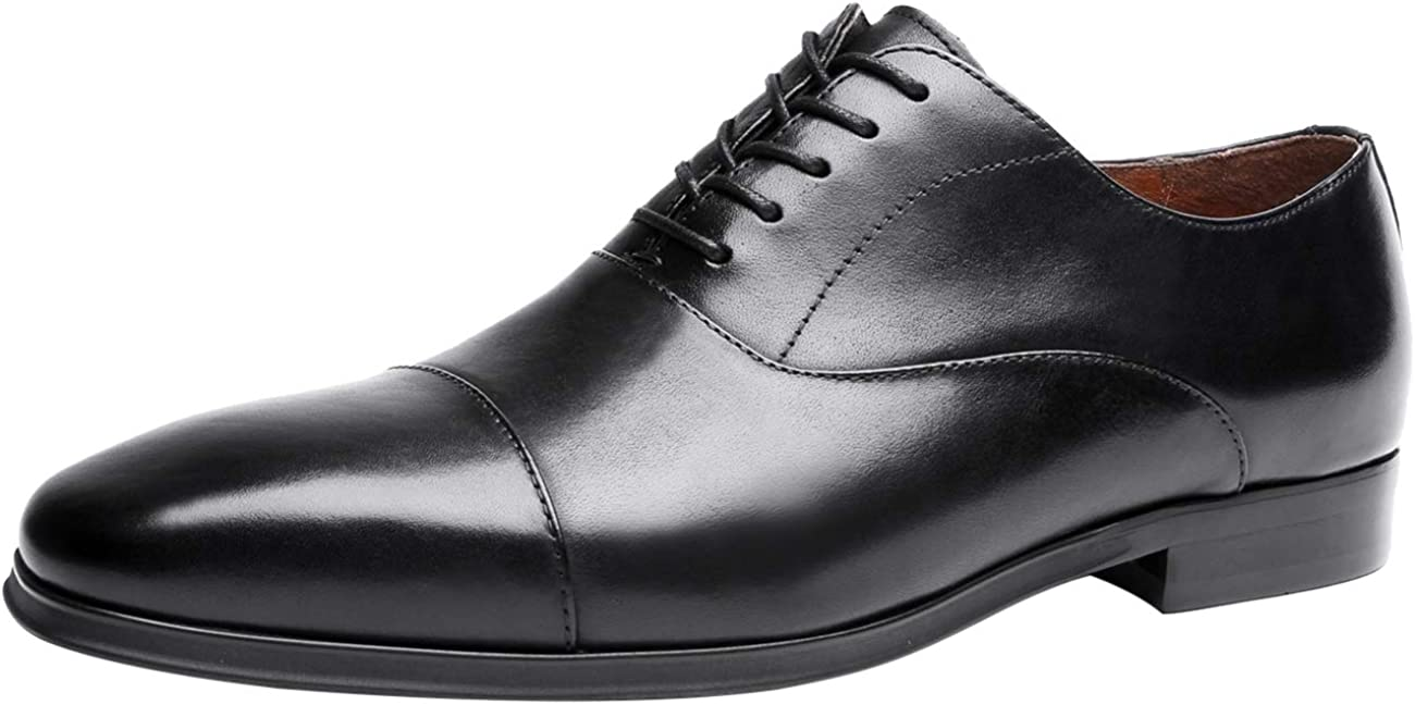 Oxford for Men Classic Lace Up Cap Toe Genuine Leather Dress Shoes