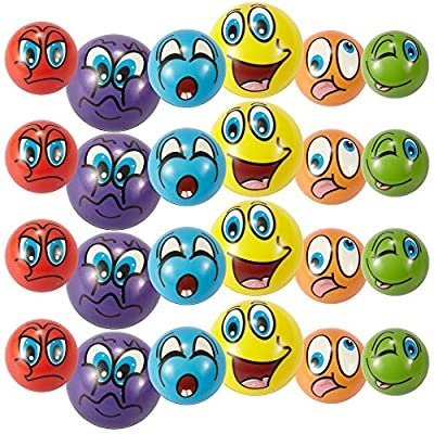 Liberty Imports Set of 24 Funny Face Emoji Foam Soft Balls - Finger Exercise Stress Relief Toys (2.5 inches) - Assorted Colors