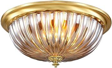 E27X3 all bronze Ceiling lights Bedroom lights European style Round Copper lamp Lighting LED (46 * 23cm) ( Size : 46*23cm )