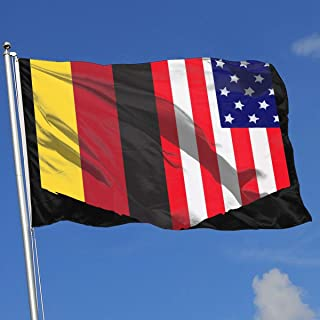 YTGQ4PT German Flag and American Flag Super Polyester Flag 3x5 F Banner with Grommets