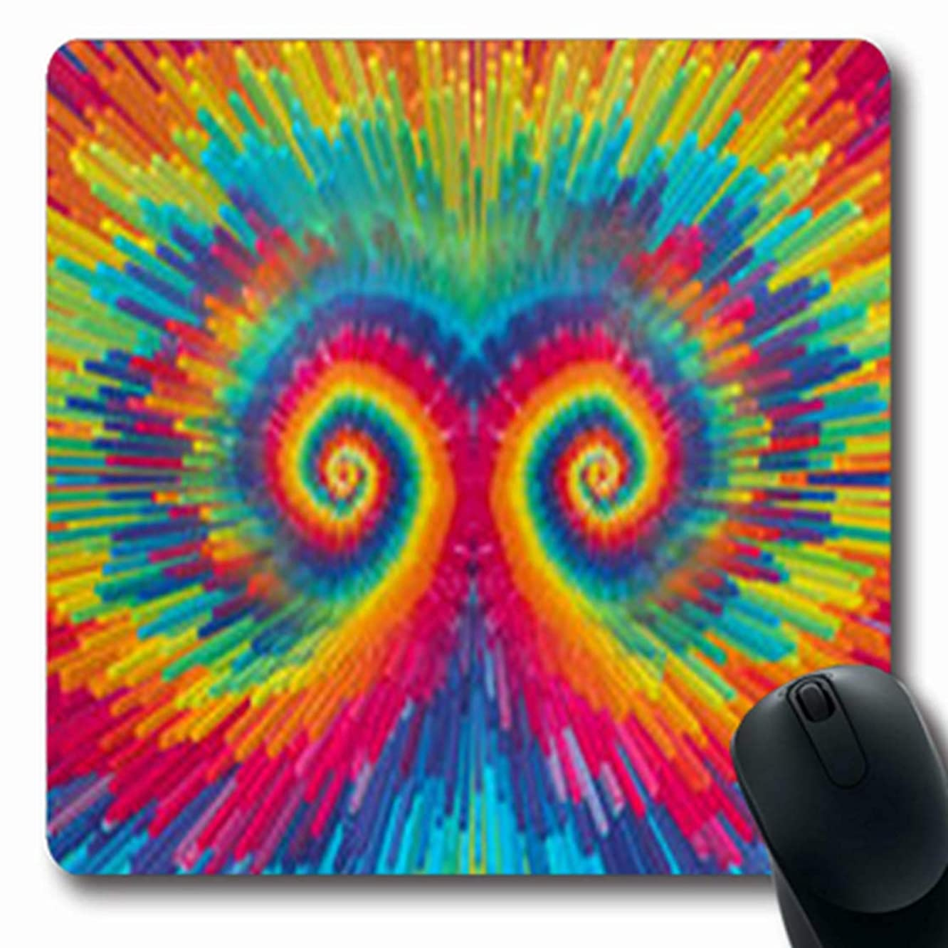 ArtsDecor Mousepads Rainbow Tie Francisco Dy Swirl Abstract Dye Spiral Oblong Shape 7.9 x 9.5 Inches Oblong Gaming Mouse Pad Non-Slip Mouse Mat