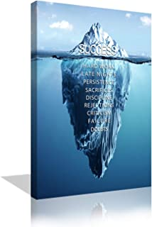 Success Inspirational Wall Art Motivation Entrepreneur Quotes Canvas Painting Prints Success Iceberg Pictures Posters Modern Inspiring Office Decor Living Room Gym Decorations Framed Ready to Hang