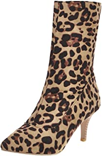 ELEEMEE Women Stiletto High Heel Stretch Boots Ankle Boots