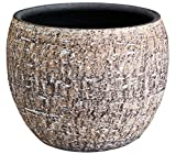 Dehner Übertopf Lana, Ø 25 cm, Höhe 22 cm, Keramik, braun
