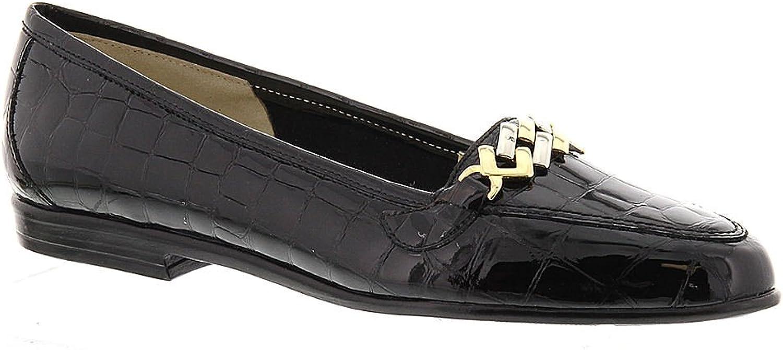 Amalfi By Rangoni Womens OSTE Almond Toe Loafers, Black Crocco, Size 5.5