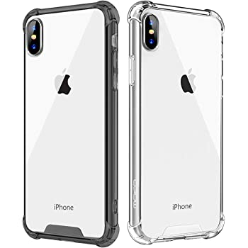 MoKo Compatible with iPhone Xs Max Case, [2 Pack] Crystal Clear Reinforced Corners TPU Bumper and Transparent Rugged Anti-Scratch Hard Panel Fit with iPhone Xs Max 6.5 inch 2018 - Clear + Black