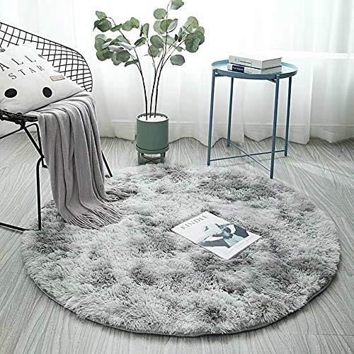 aizhinuo Tapis Rond Doux et Moelleux Antidérapant Tapis Salon Rond Adaptés à la Décoration Intérieure (Gris Clair, 140cm)