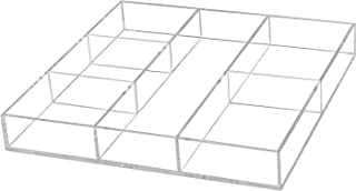 Yestbuy Acrylic Drawer Organizer, Gadget Tray Organizer, Clear Desk Drawer Holder with Adjustable Dividers, for Office Des...