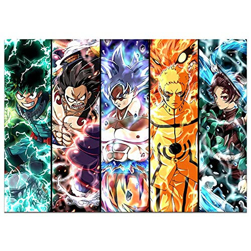 Japanese Anime Poster One Piece Luffy My Hero Academia Naruto Demon Slayer Print on Canvas Painting Wall Art for Living Room Decor Boy Gift (Unframed, One piece 1)