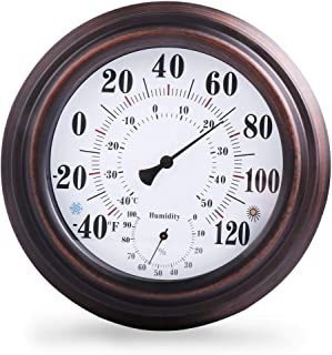 Indoor/Outdoor Thermometer Hygrometer For Room, Kitchen, Patio, Wall Metal Decorative No Battery Required Big Hanging Hygr...