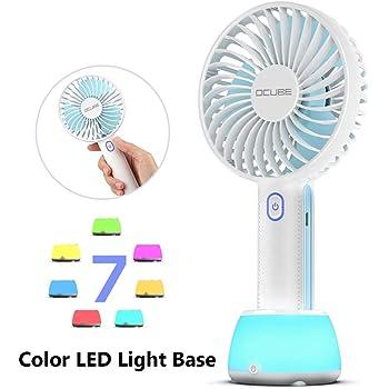 Outdoor Travel Office USB Fans Portable Cooling Fan USB Charging Handheld Mini Fan Pure Color Detachable Base 4 Fan Blades 2 Gear Wind for Home Color : Blue