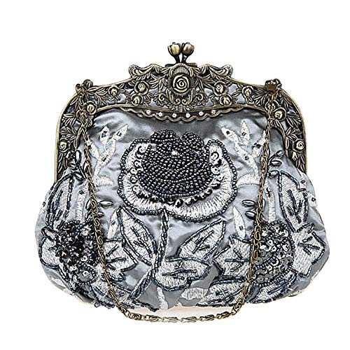 DA BODAN Vintage Clutch Floral Perlen Stickerei Clutch Pailletten Hochzeit Party Prom Bag Bridal Damen Crossbody Abend Handtasche (Grau)