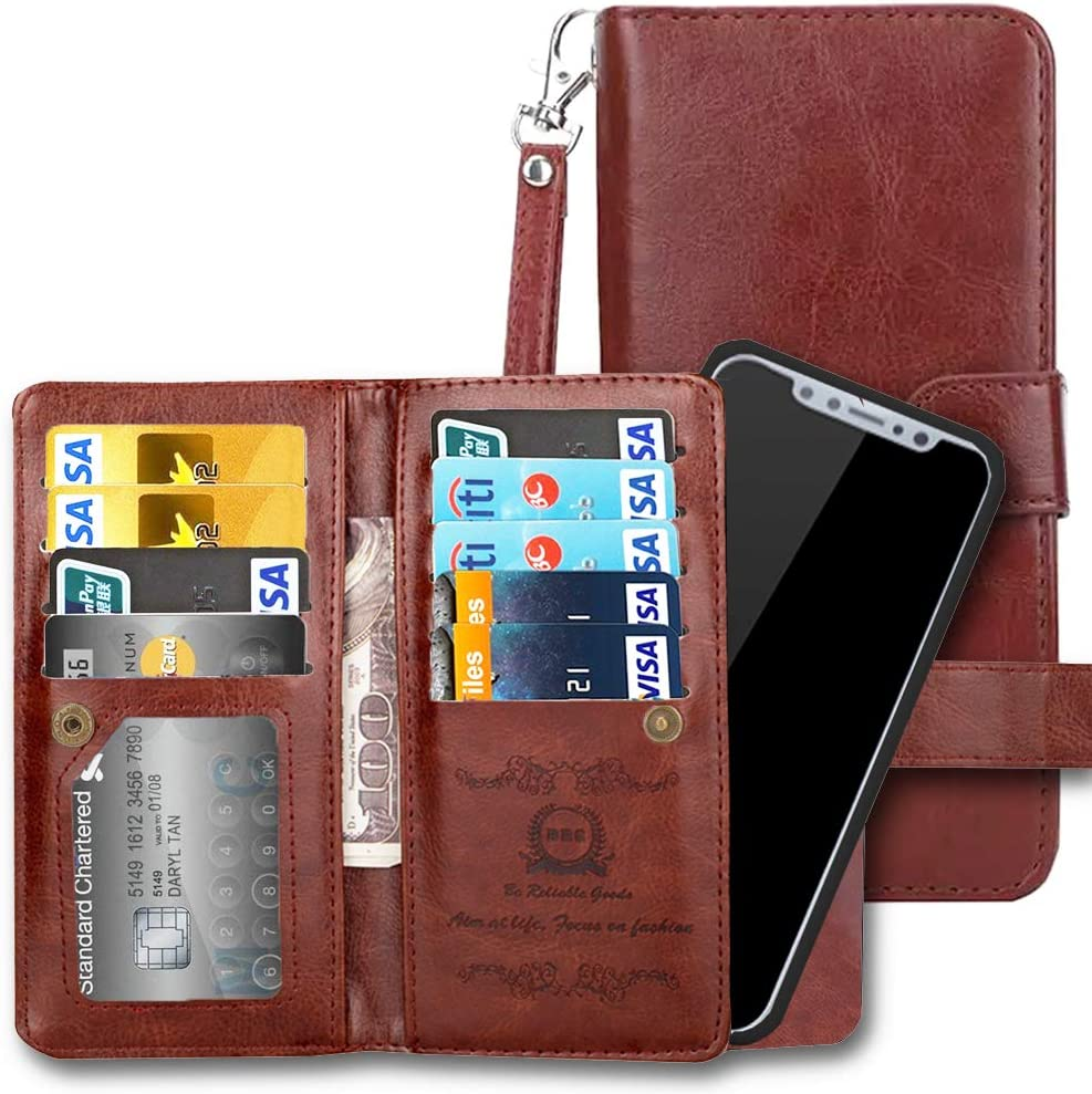 iPhone XR Wallet Case, iPhone 10R Case, AICOO Flip Leather Magnetic Removable Wallet Phone Case Credit Card Hold for iPhone XR with Credit Card Slot, ID Slot, Cash Pocket and Wrist Strap, Brown