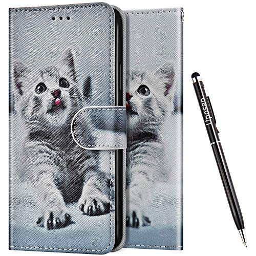 Uposao Kompatibel mit Huawei Honor 7X Hülle Wallet Handyhülle Bunt Retro Muster Lederhülle Schutzhülle Brieftasche Klapphülle Flip Hülle Magnet Ständer Kartenfächer,Grau Katze