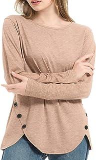 DISECAC Camisas de manga larga para mujer, cuello redondo, túnicas, blusas casuales