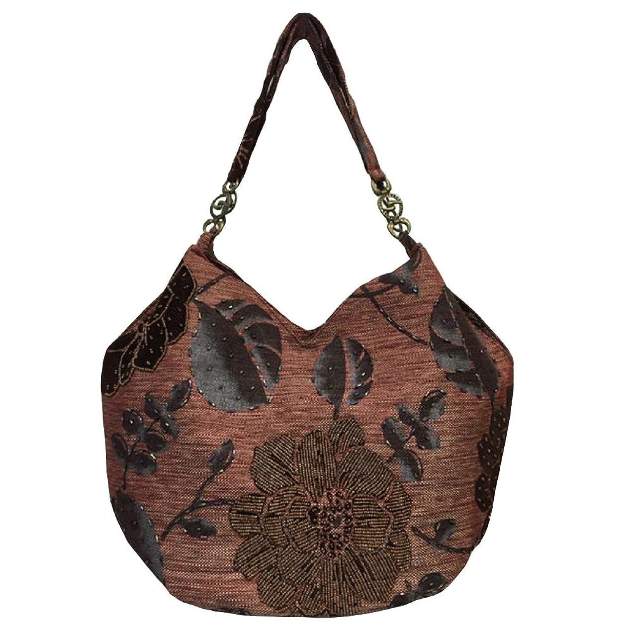 回路後世ペンスベトナムバッグ ビーズ チェーン トートバッグ 肩掛け 鞄 ベトナム雑貨 花柄