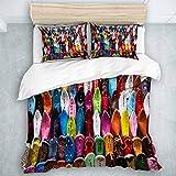 TARTINY Bedding Juego de Funda de Edredón Marrakech Zapatos Coloridos Marruecos Oriental Mercado Marrakech profundi/Microfibra Funda de Nórdico y Fundas de Almohada,(Cama 200 x 200cm)