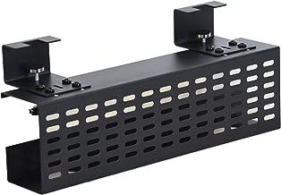 AEONS Under Desk Cable Management Tray Black Horizontal 16-inch Under Desk Removable C Clamp Mount Computer Cord Raceway a...
