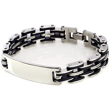 PERSONALIZED MEN/'S SILVER STAINLESS STEEL CURB LINK ID BRACELET CUSTOM ENGRAVED