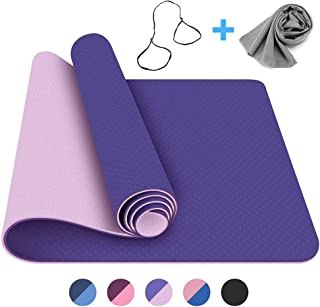 FerDIM Non-Slip All-Purpose Yoga Mat,Eco Friendly Yoga Mats with Carry Straps and Ice Sport Towel for Women,Men- 1/4-Inch TPE Exercise Anti-Tear Workout Mat Perfect for Yoga, Bikram, Pilates