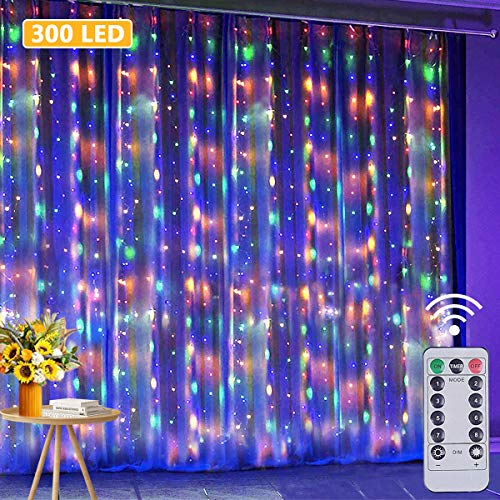 JIANNZT LED Curtain Lights, 3m x 3m 300 LED Fairy Lights with Remote 8 Modes 10 Hooks, IP65 Waterproof Colorful Window Curtain String Lights for Bedroom Outdoor Wedding Party Garden Decoration