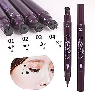 Eyeliner Stamps, Waterproof Black Liquid Eyeliner Pen Star Heart Moon Flower Shape Stamps Tattoo Eyes Liner Makeup Tools, 4 Pcs/Set