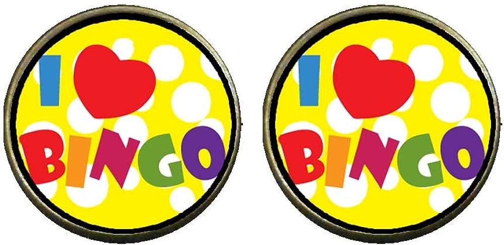 GiftJewelryShop Bronze Retro Style I Love Bingo Photo Clip On Earrings 16mm Diameter